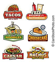 Fast food retro symbols with snack and desserts - Fast food ...