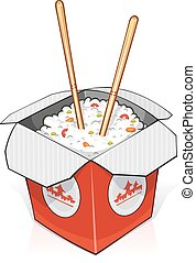 Fast food. Rice in paper container