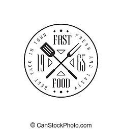 Fast Food Round Label Design