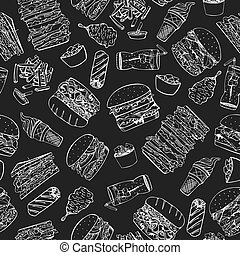 Fast food seamless pattern in doodle style.