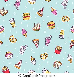 Fast food seamless pattern on blue background