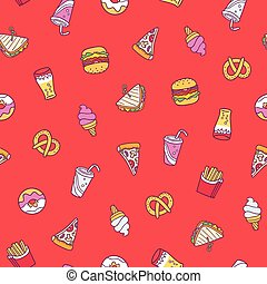 Fast food seamless pattern on red background