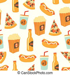 Fast food seamless vector pattern. Snack food and drinks Background with hand draw pizza, hot dog, popcorn, beer, cup. Doodle snack items. Use for menu, flyer, decor, summer, football or soccer party