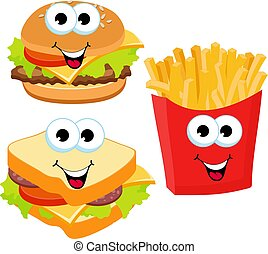 Fast food set hamburger, sandwich and french fries isolated on white background. Fast food smile vector cartoon expression characters illustration