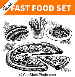 Fast food set. Hand drawn sketch illustrations