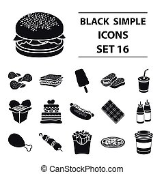 Fast food set icons in black style. Big collection fast food vector symbol stock illustration