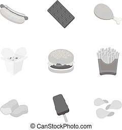 Fast food set icons in monochrome style. Big collection of fast food vector symbol stock illustration