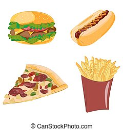 Set of cartoon vector food icons