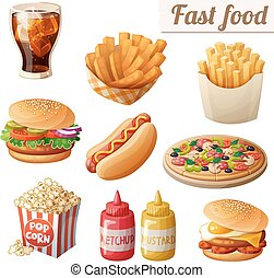 Fast food. Set of cartoon vector food icons isolated on white background