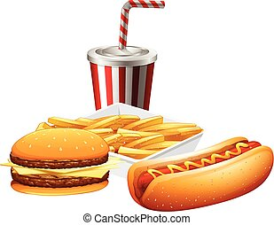 Fast food set on white background