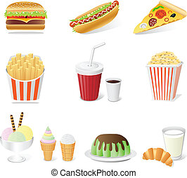 fast food set - fast food set isolated on the white...