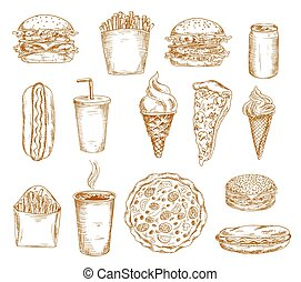 Fast food sketch icons, burger, hamburger sandwich