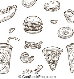 Fast food sketch pattern background. Vector seamless design