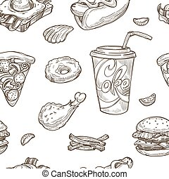 Fast food sketch vector seamless pattern background