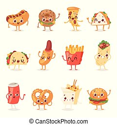 Fast food smile vector cartoon expression characters of hamburger or cheeseburger with fast-food emotion of burger or hot dog emoticon icons and soda drink emoji illustration isolated on background