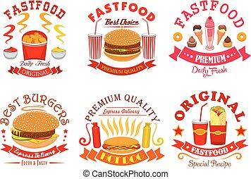 Fast food snack, dessert menu signs, icons set - Fast food...