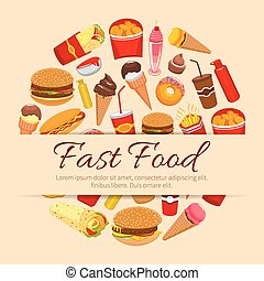 Fast food snacks and desserts vector poster - Fast food...