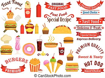 Fast food snacks, drinks, ribbons emblems - Fast food...