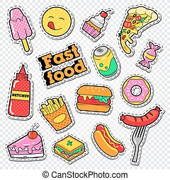 Fast Food Stickers, Badges and Patches with Burger, Fries and Cakes. Unhealthy Eating. Vector illustration