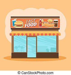 Fast food store front view