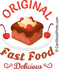 Fast food sweet treats icon with chocolate cake
