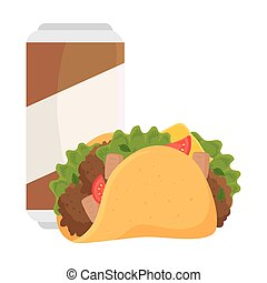 fast food, taco mexican food with beer in can, on white background
