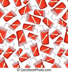 Fast food takeaway soda drinks seamless pattern