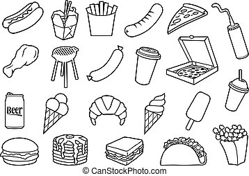 Fast food thin icons set (hamburger, pizza, hot dog, Chinese food, fried chicken legs, barbecue grill, sausages, ice cream, pancakes, popcorn, coffee, french fries, sandwich, taco)