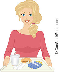 Fast Food Tray - Illustration Featuring a Woman Sitting in...
