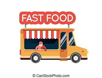 Fast food truck city car. Food hipster truck, auto cafe, mobile kitchen, hot fastfood, vegetables. Design elements. Isolated on white. Street food car. Foodtruck Street food van