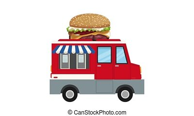 Fast food truck HD animation - Fast food truck selling...