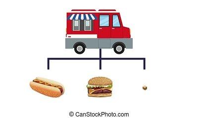 Fast food truck HD animation - Fast food truck showing menu...