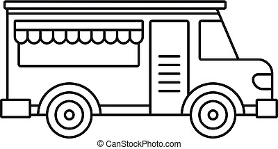 Fast food truck icon, outline style