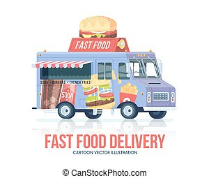 Fast food truck. Vector fast food wagon. Delivery service....