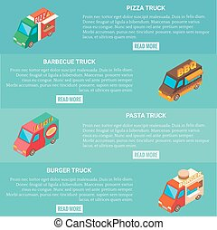 Fast food truck vector horizontal banner set