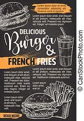 Fast food vector burgers menu sketch poster