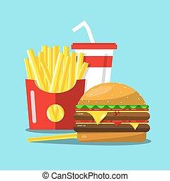 Fast Food Vector Cartoon. French Fries, Hamburger and Soda Flat Design Illustration.