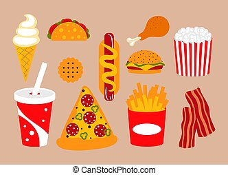 Fast food vector clip art set with pizza, soda and bacon.