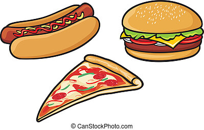 fast food (hot dog, pizza, hamburger)