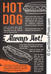 Fast food vector hot dog sketch poster