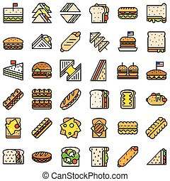 Fast Food vector icon set, filled style