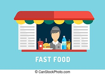 Fast food vector objects set. Water bottle, juice, eat, ice...