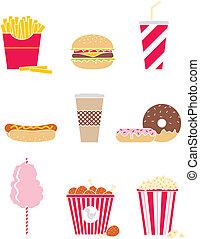 Fast food - Vector set of nine icons fast food