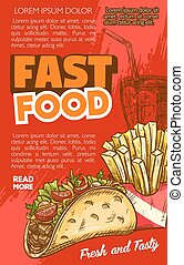 Fast food vector tacos or french fries sketch menu - Fast...