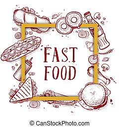 Fast food vintage hand drawn menu cover