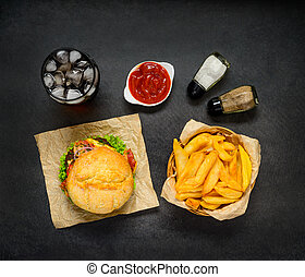 Fast Food with French Fries, Cola and Burger