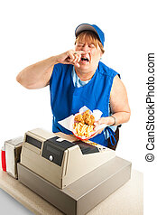 Fast Food Worker Sneezing on Meal