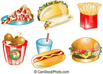 Fast foods icons or symbols - Illustrations of different...