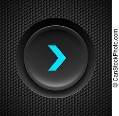Fast forward button. - Black button with blue fast forward...