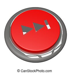 Fast forward button, isolated over white, 3d render